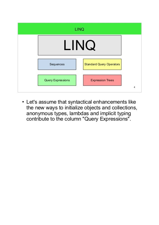 4  LINQ  LINQ  Standard Query Operators  Sequences  Query Expressions  Expression Trees  ● Let's assume that syntactical e...