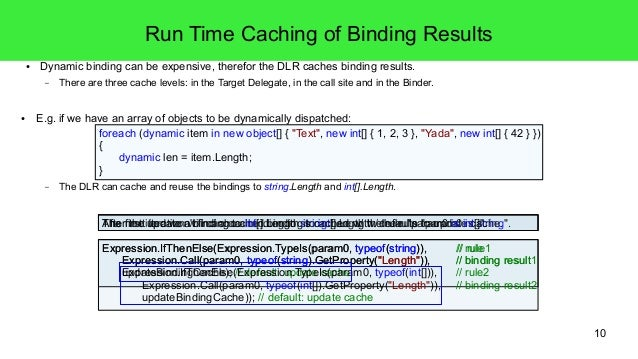 10  Run Time Caching of Binding Results  ● Dynamic binding can be expensive, therefor the DLR caches binding results.  – T...