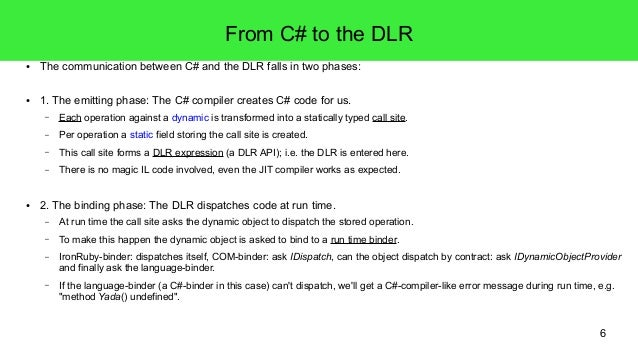 6  From C# to the DLR  ● The communication between C# and the DLR falls in two phases:  ● 1. The emitting phase: The C# co...