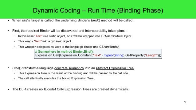 9  Dynamic Coding – Run Time (Binding Phase)  ● When site's Target is called, the underlying Binder's Bind() method will b...