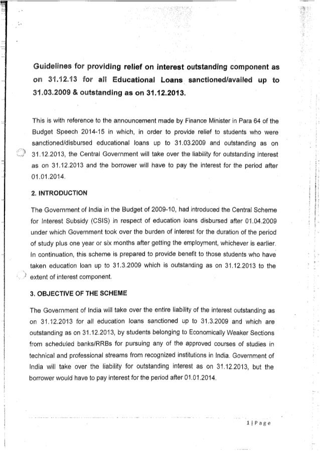 Guidelines on interest subsidy scheme for education loans granted prior to April 2009 and outstanding as on 31st Dec 2013.