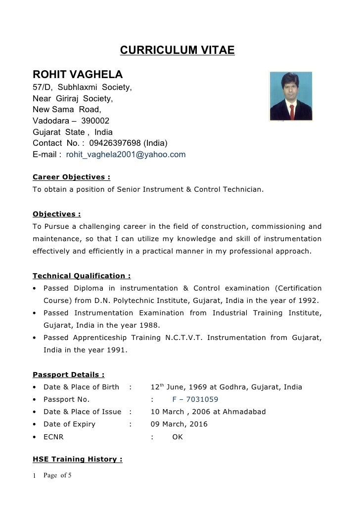 mechanical technician resumes