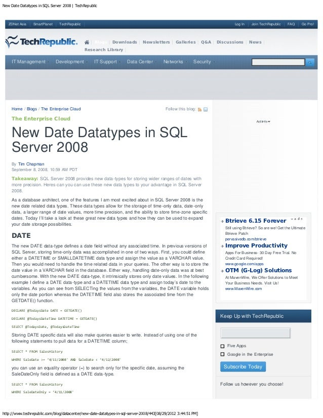 New Date Datatypes in SQL Server 2008 | TechRepublic   ZDNet Asia   SmartPlanet    TechRepublic                           ...