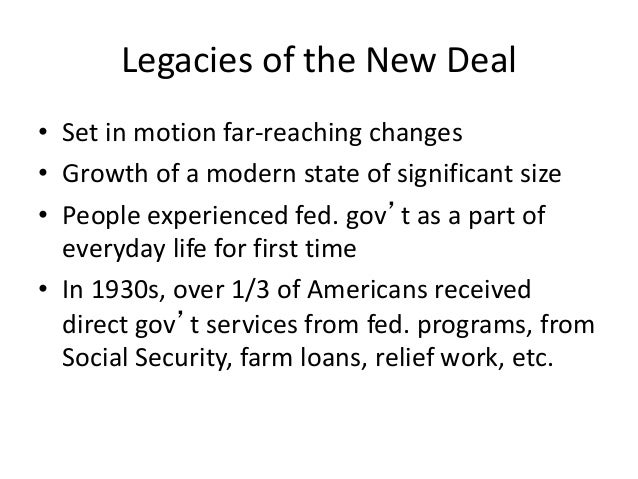 impact of new deal on maerican The new deal programs did not end the depression it was the growing storm clouds in europe, american aid to the allies, and ultimately, us entry into world war ii after the bombing of pearl harbor that revitalized the nation's economy.