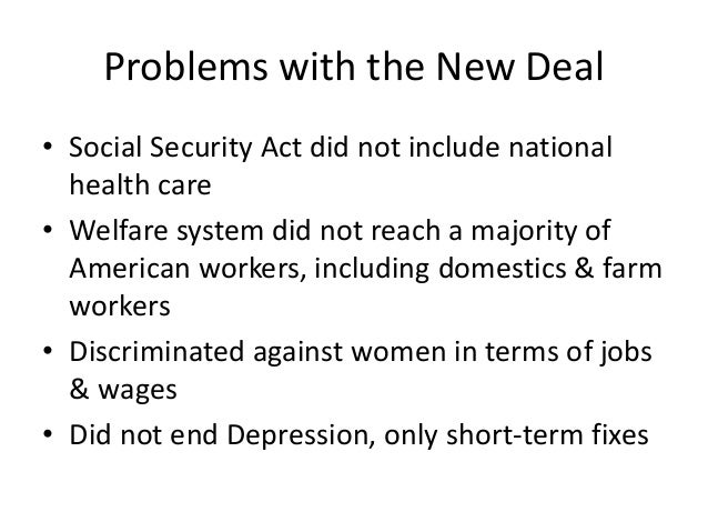 did the new deal deliver a Effects of the new deal, 1929-1941 although franklin roosevelt's new deal programs did not end the depression, they did make some economic conditions better use.