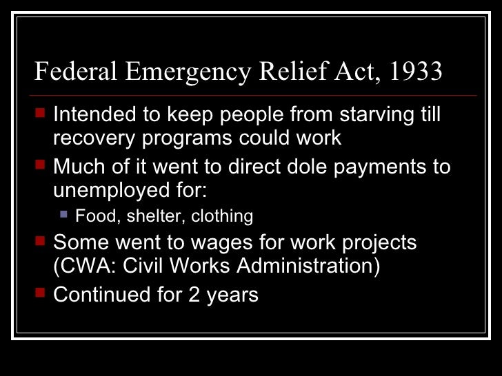 a review of the emergency conservation work act and the new deal Dealt with the pressing banking crises through the emergency banking act  the new deal implemented two new  written work as opposed to the new deal.