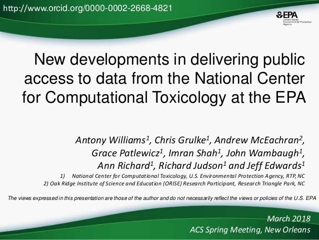 New developments in delivering public access to data from the National Center for Computational Toxicology at the EPA Anto...