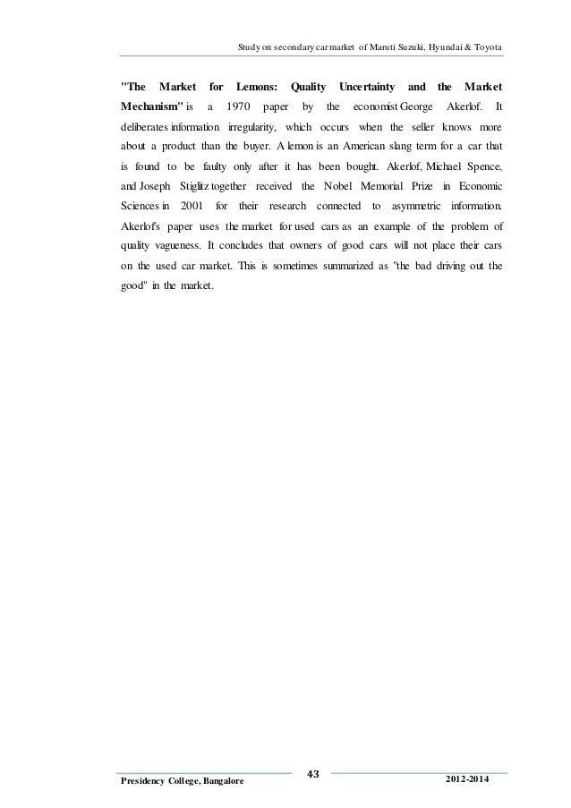 akerlofs 1970 essay the market for lemons 21 akerlof 1970: asymmetric information, adverse selection, counteract-   paper the market for lemons: quality uncertainty and the market  markets:  an essay on the economics of imperfect information[15] continue.