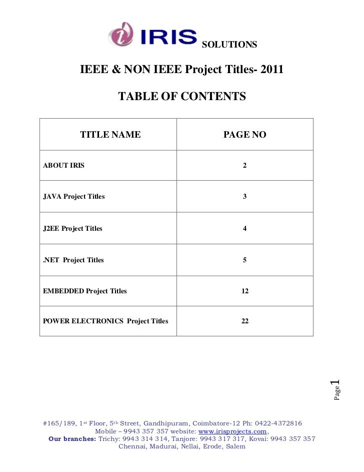 SOLUTIONS           IEEE & NON IEEE Project Titles- 2011                      TABLE OF CONTENTS           TITLE NAME      ...