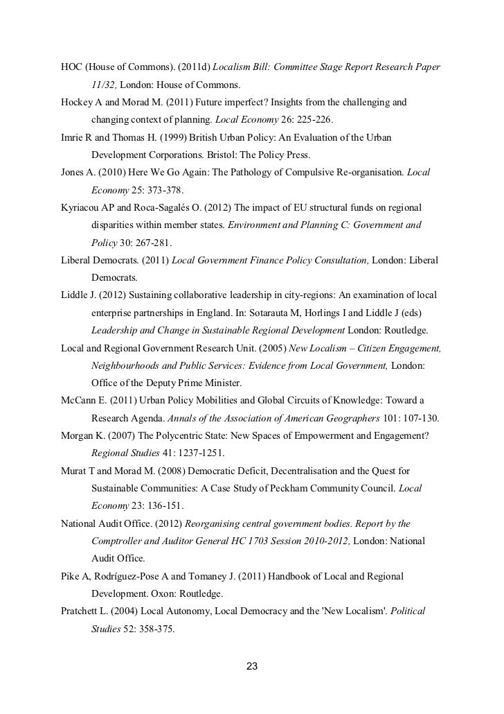 HOC (House of Commons). (2011d) Localism Bill: Committee Stage Report Research Paper       11/32, London: House of Commons...