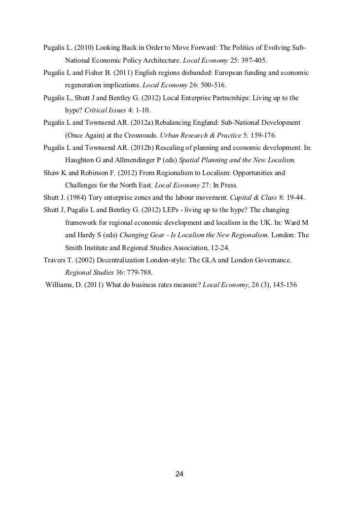 Pugalis L. (2010) Looking Back in Order to Move Forward: The Politics of Evolving Sub-       National Economic Policy Arch...