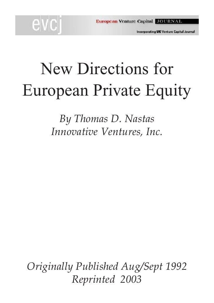 New Directions In European Pe, Nastas Article In The European Venture Capital Journal