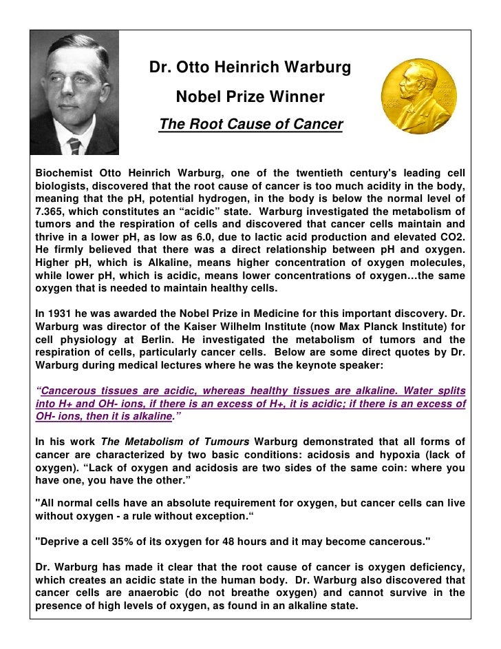 Dr. Otto Heinrich Warburg                              Nobel Prize Winner                          The Root Cause of Cance...