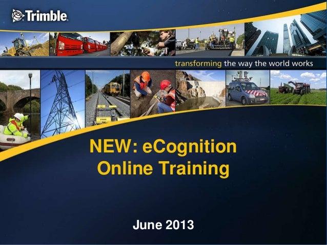 NEW: eCognitionOnline TrainingJune 2013