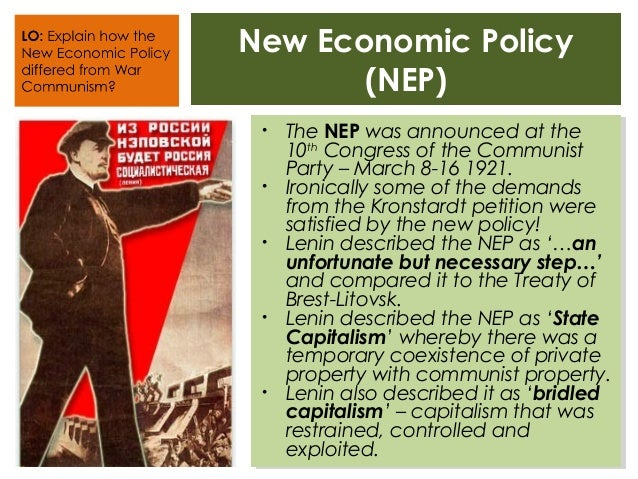 the new economic policy In march of 1921, lenin introduced his new economic policy to the tenth  congress as a means of fixing the many shortages that ran rampant.