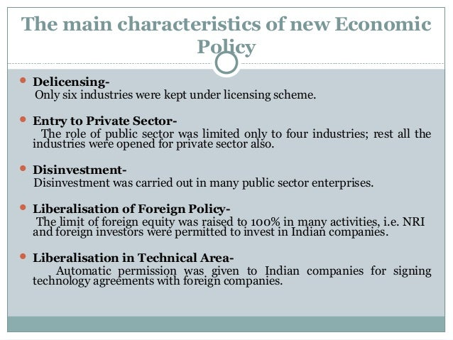 features of new economic policy 1991