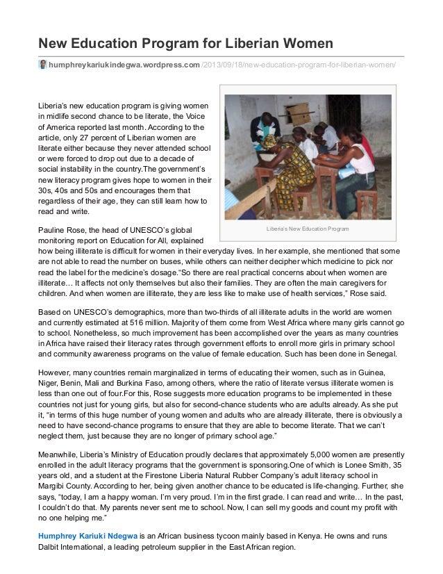 Liberia's New Education Program New Education Program for Liberian Women humphreykariukindegwa.wordpress.com/2013/09/18/ne...