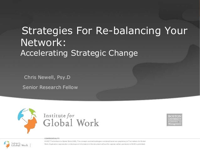 Strategies For Re-balancing Your Network: Accelerating Strategic Change Chris Newell, Psy.D  Senior Research Fellow  CONFI...