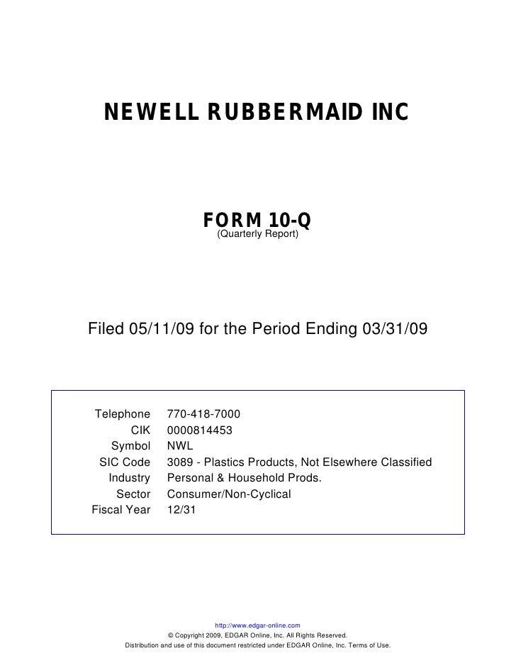 NEWELL RUBBERMAID INC                                   FORM Report)10-Q                                 (Quarterly     Fi...