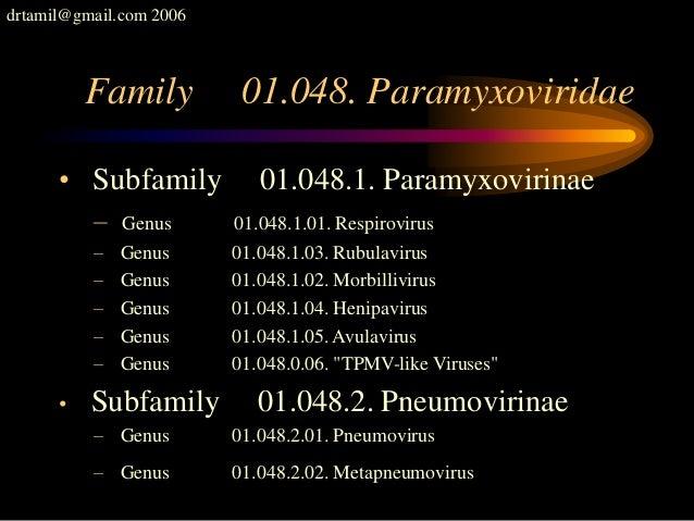 drtamil@gmail.com 2006 Family 01.048. Paramyxoviridae • Subfamily 01.048.1. Paramyxovirinae – Genus 01.048.1.01. Respirovi...