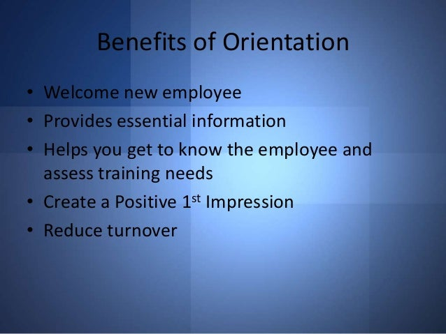 new employee orientation for a company
