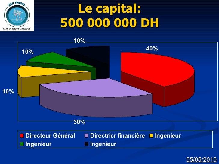Le capital: 500 000 000 DH 05/05/2010