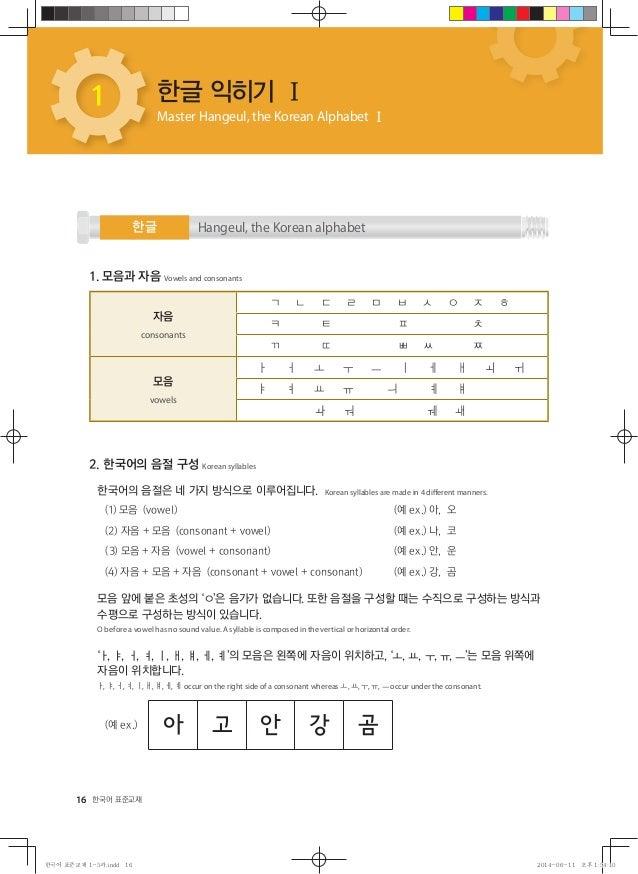 16 한국어 표준교재 한글 익히기 Ⅰ Master Hangeul, the Korean Alphabet Ⅰ 한글 1 Hangeul, the Korean alphabet 1. 모음과 자음 Vowels and consonan...