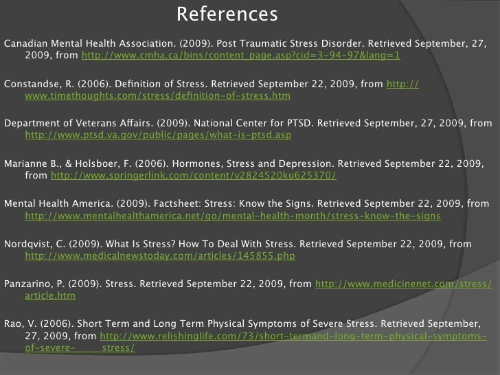 S – cool. (2000). Psychology A-level: Stress. What is 'stress'? Retrieved October 4, 2009, from http://      www.s-cool....