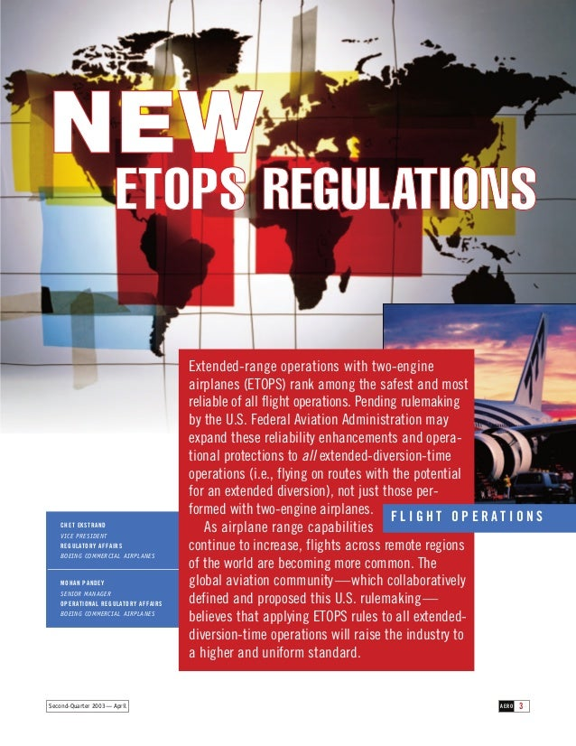 NEW ETOPS REGULATIONS  CHET EKSTRAND VICE PRESIDENT REGULATORY AFFAIRS BOEING COMMERCIAL AIRPLANES  MOHAN PANDEY SENIOR MA...