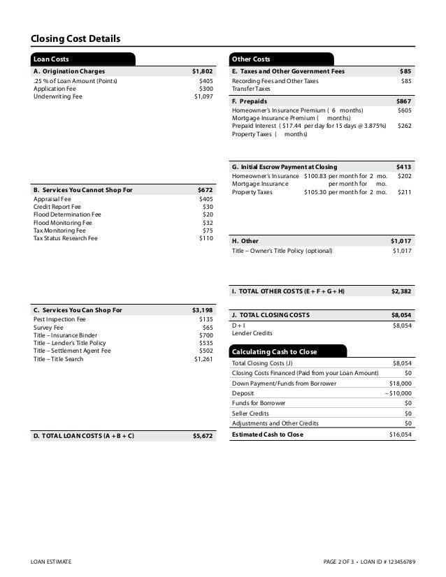 New Example Good Faith Estimate for 2015 - The Loan Estimate