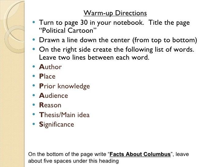 "<ul><li>Warm-up Directions </li></ul><ul><li>Turn to page 30 in your notebook.  Title the page ""Political Cartoon"" </li></..."