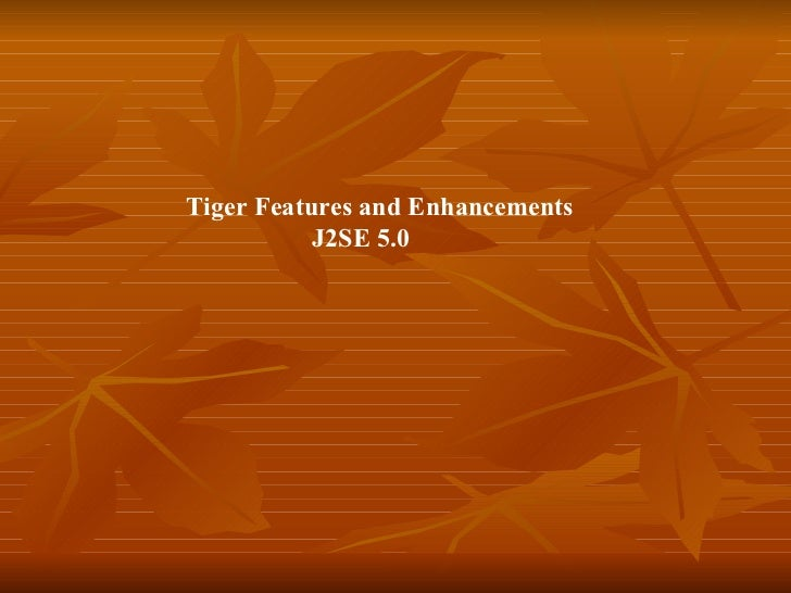 Tiger Features and Enhancements     J2SE 5.0