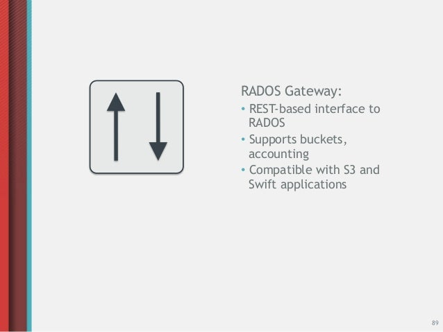 RADOS Gateway:• REST-based interface to   RADOS• Supports buckets,   accounting• Compatible with S3 and   Swift applica...