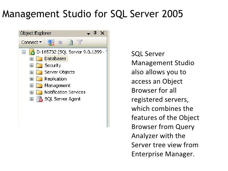 an introduction to the sql server 2005 Administrator when setting up the sql server 2005 sql server questions  t-sql enhancements in sql server 2005 in this  sql server 2005 – introduction.