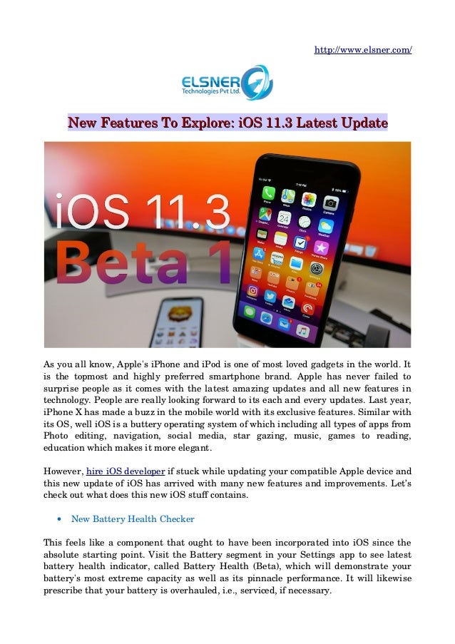 New features to explore: i os 11 3 latest update