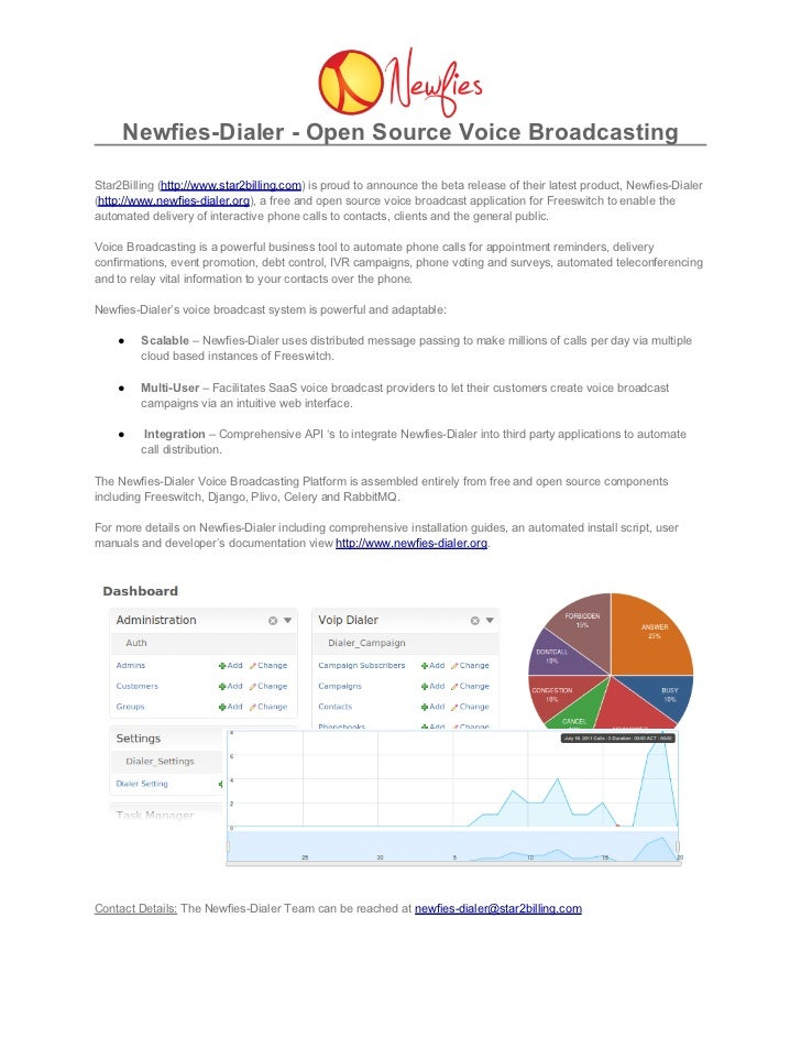 Newfies-Dialer - Open Source Voice BroadcastingStar2Billing (http://www.star2billing.com) is proud to announce the beta re...