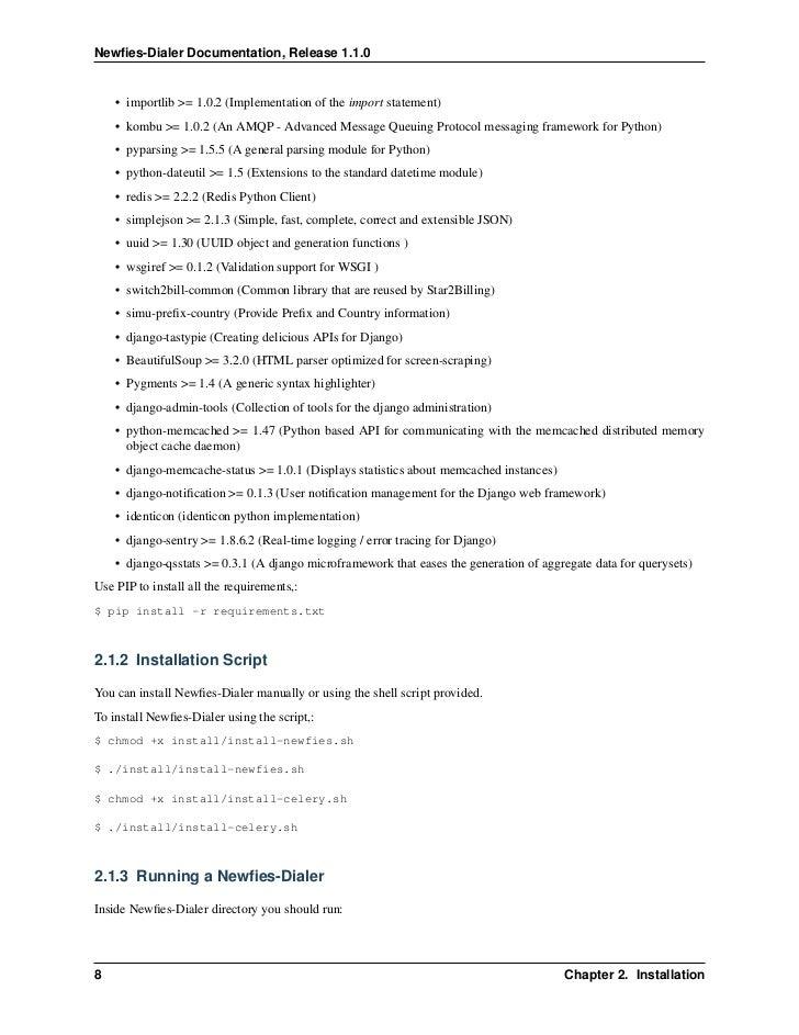 Newfies-Dialer : Autodialer software - Documentation version 1 1 0