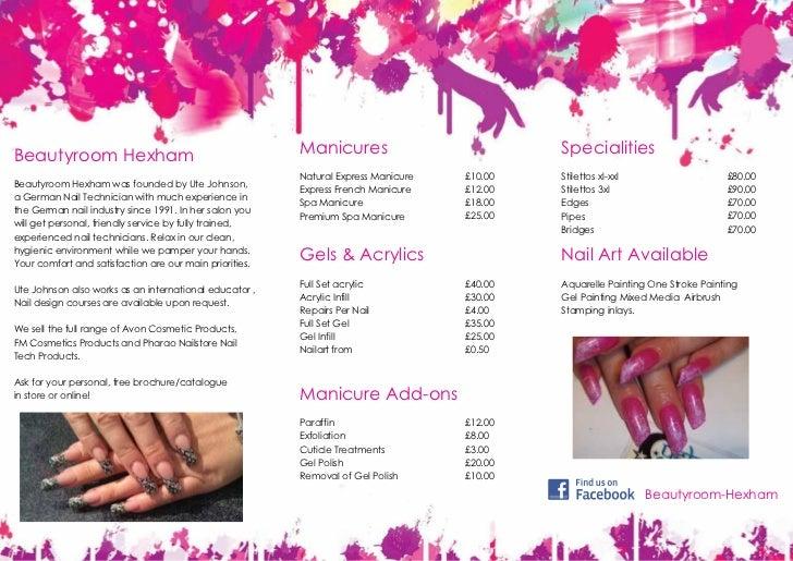 Pricelist Beautyroom Hexham