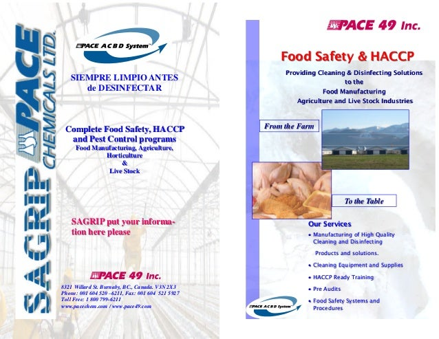 Food Safety & HACCP SIEMPRE LIMPIO ANTES de DESINFECTAR  Complete Food Safety, HACCP and Pest Control programs  Providing ...