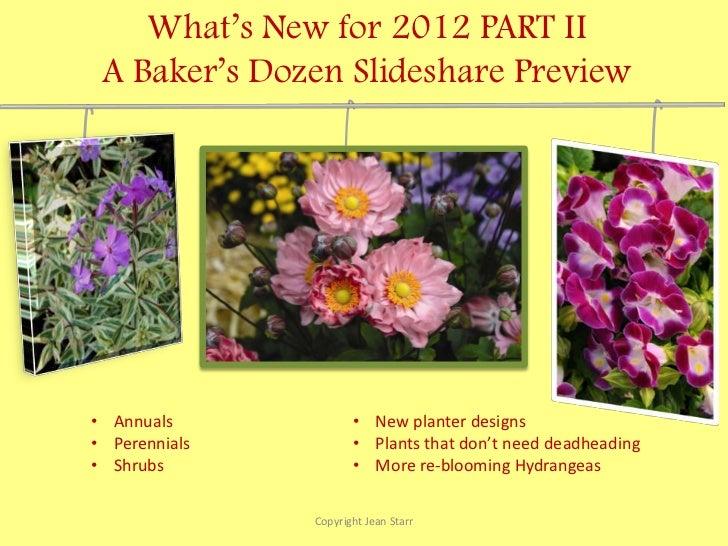 What's New for 2012 PART II A Baker's Dozen Slideshare Preview• Annuals             • New planter designs• Perennials     ...