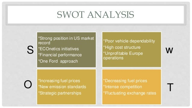 swot analysis of ford Find out how a swot analysis can be used in strategic planning, brainstorming and decision making.