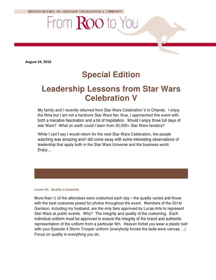 August 24, 2010                                           Special Edition           Leadership Lessons from Star Wars     ...