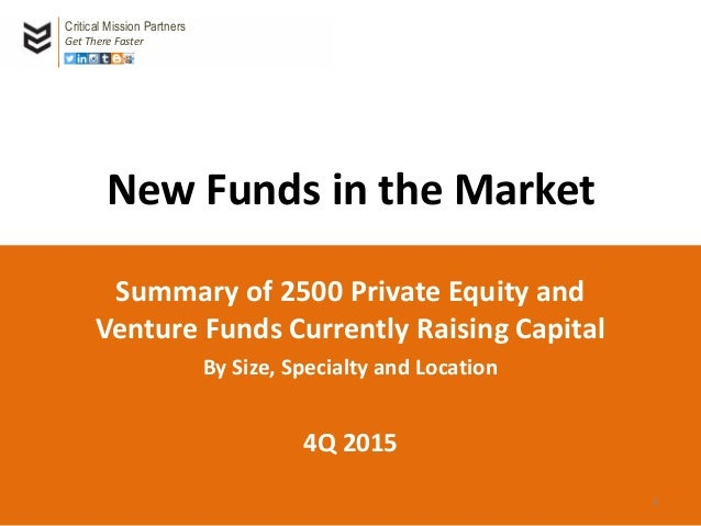 New Funds in the Market Summary of 2500 Private Equity and Venture Funds Currently Raising Capital By Size, Specialty and ...