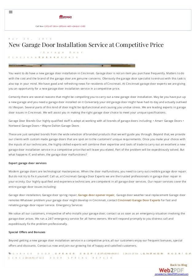 New Garage Door Installation Service At Competitive Price
