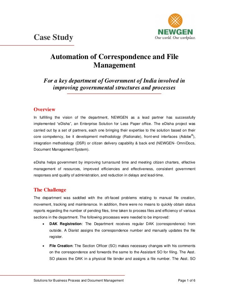 Case Study            Automation of Correspondence and File                       Management       For a key department of...