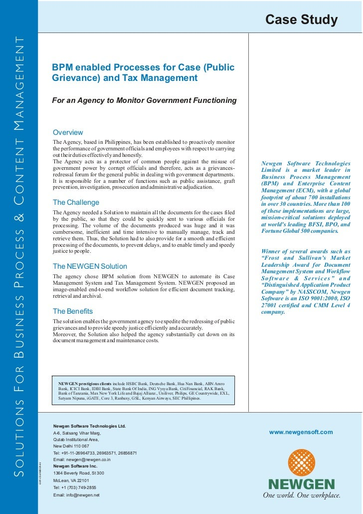 BPM enabled processes for case (public grievance) and tax management