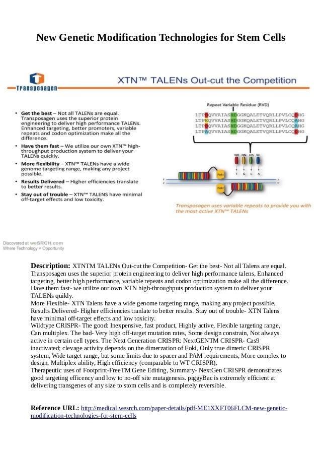 New Genetic Modification Technologies for Stem Cells Description: XTNTM TALENs Out-cut the Competition- Get the best- Not ...