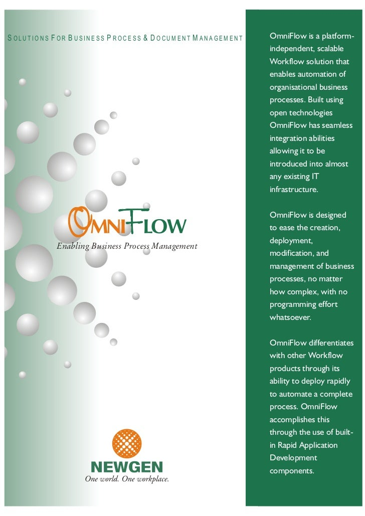OmniFlow is a platform- SOLUTIONS FOR BUSINESS PROCESS  DOCUMENT MANAGEMENT                                               ...