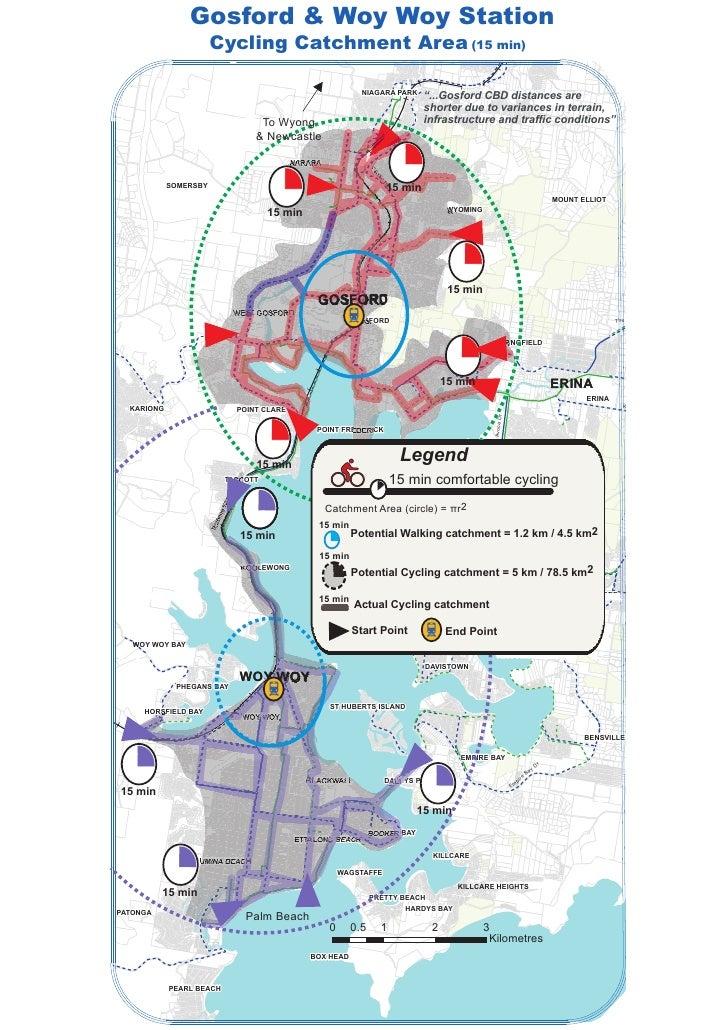 Gosford & Woy Woy Station                       Cycling Catchment Area (15 min)                                           ...