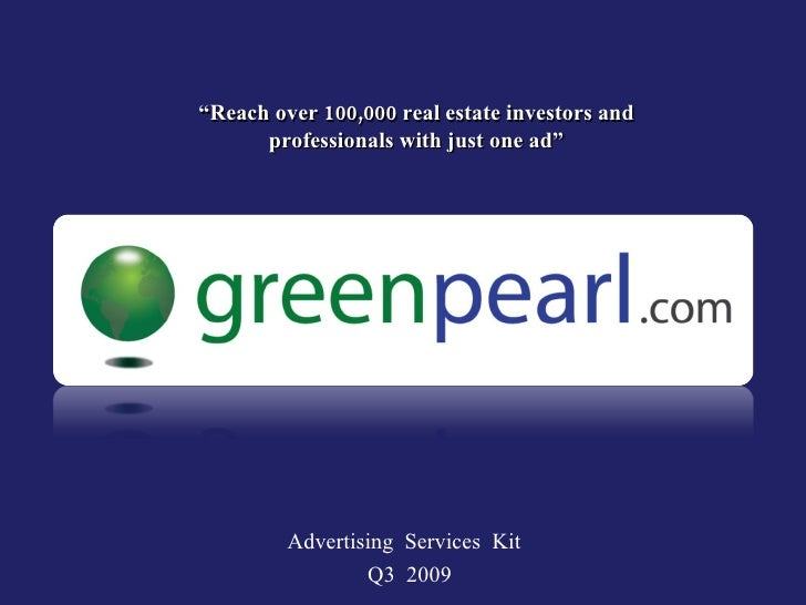 """""""Reach over 100,000 real estate investors and       professionals with just one ad""""              Advertising Services Kit ..."""